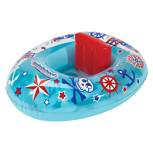 SwimSchool Lil' Skipper Baby Pool Float Baby Boat with Adjustable Backrest Safety Seat Inflatable Pool Float 6 to 18 Months Blue/Red Model:SSB10158