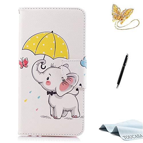 TOUCASA Huawei Mate 10 Lite Handyhülle,Huawei Mate 10 Lite Hülle, Brieftasche flip PU Leder ledercaseHülle Kartenfächer Leinwand Farbmalerei Art fürHuawei Mate 10 Lite-(Baby Elefant)+StylusPen