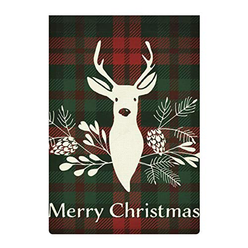 ZGPOJNDKI Welcome Spring Summer Garden Flag 12.5 x18 Inch Double Sided Outdoor Seasonal Yard Flags Banners for Holidays/Party/House/Home Decor, Reindeer with Christmas Bouquet Plaid