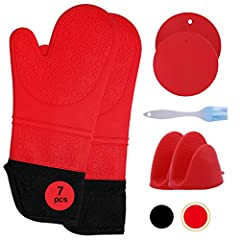 7 PCS HEAT PROTECTION COOKING ACCESSORIES: ONLY set including everything you need for handling hot items in the kitchen! Extra-long Silicon Oven Gloves,Silicone pot holders or hot pads for hot dishes ,Mini oven mits or kitchen mittens for holding the...