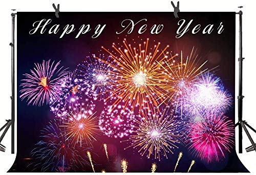 Zhy 7X5FT Happy New Year Gorgeous Fireworks Backdrop for Photography Greeting New Year Party Banner Studio Props LLST059