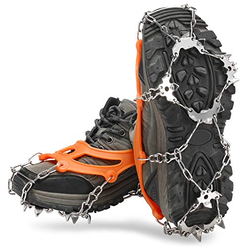 Lixada Crampones 21 Dientes Cubierta de Zapatos Antideslizante con Bolsa de Almacenamiento para Caminar Senderismo Pesca Montañismo