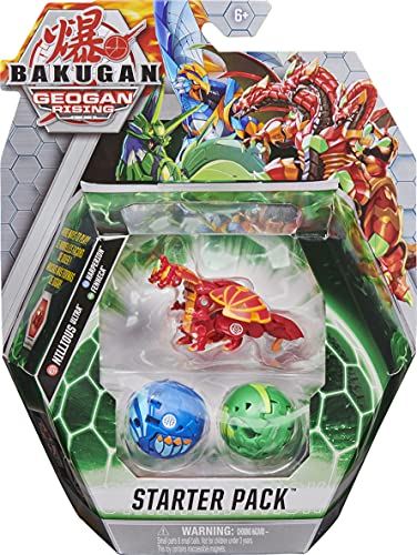 BAKUGAN Starter Pack 3-Pack, Nillious Ultra, Geogan Rising Collectible Action Figures