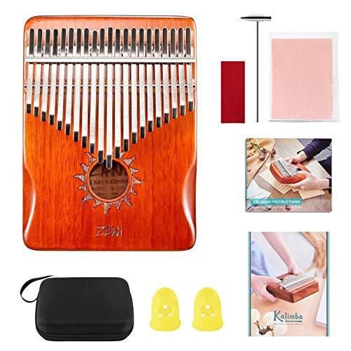 S SMAUTOP Kalimba de 21 Teclas Piano de Pulgar, Instrumento Musical Portátil con Guía de Estudio y Caja de Protección, Adecuado para Principiantes y Profesionales