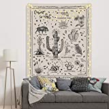 Desert Species Tapestry Animals Plants Reference Chart Tapestry Cactus Flowers Tapestry for Room(51.2 x 59.1 inches)