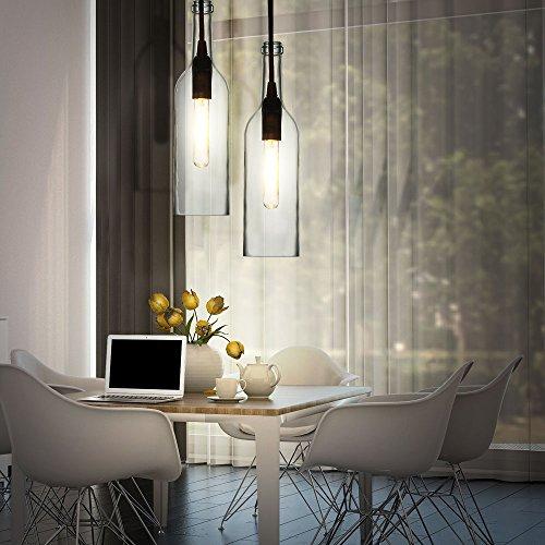 2er Set Glas Flaschen Pendel Strahler Wohn Ess Zimmer Decken Beleuchtung Dielen Hänge Lampen klar