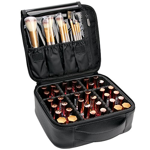 VASKER Travel Makeup Bag Leather Waterproof Cosmetic Case with Adjustable Divider VA-07