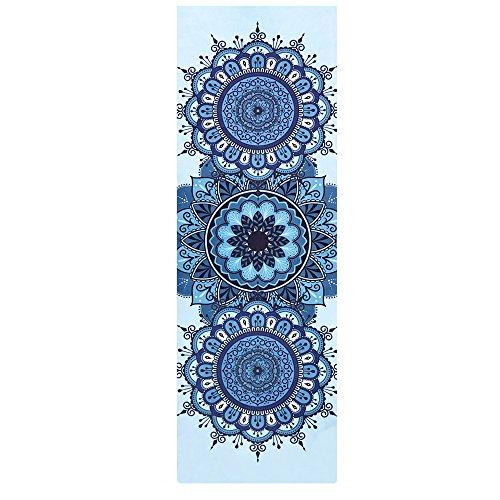 SLHP Reise Yogamatte 1mm | Extrem leicht, dünn, faltbar, rutschfest, waschbar 3-in-1 Matte Handtuch für Yoga Pilates (180x65cm / 70.9x25.6'', A)