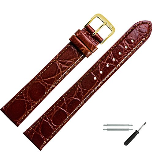 MARBURGER Uhrenarmband 18mm Leder Braun Kroko XL - Werkzeug Montage Set 6811832000220