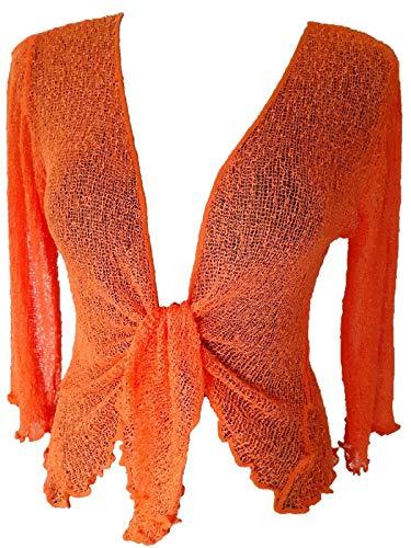 Ikat Damen Bolero Jäckchen Netz Cardigan Strickjacke one Size 36-42 orange