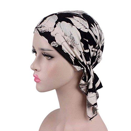 Zhongke Frauen Damen Blumenkopf Wraps Chemo Hut Turban Muslim Turban Headwear Schal Abdeckung Elastic Cap Retro Krebs Hat