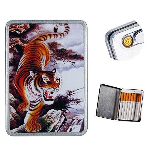 USB Cigarette Lighter Case Cigarette Box Regular Cigarettes Electronic Flameless Rechargeable Windproof Lighters Can Hold 16 pcs King Size Cigarette Smoke (Tiger USB Lighter)