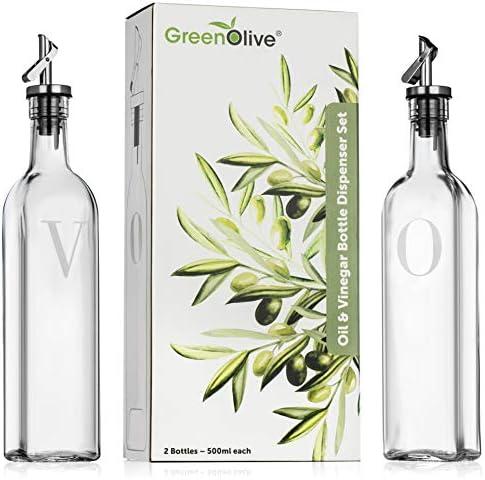 GreenOlive Olive Oil and Vinegar Dispenser Set 17 oz No Drip BPA Free Spout Olive Oil Bottle product image