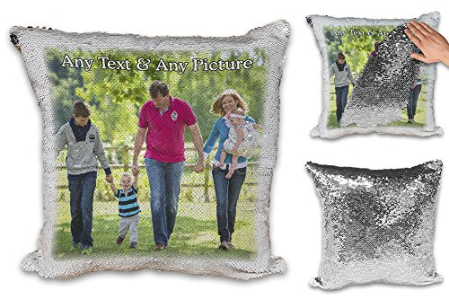 Personalised Any Name & Any Picture Sequin Reveal Magic Cushion Cover