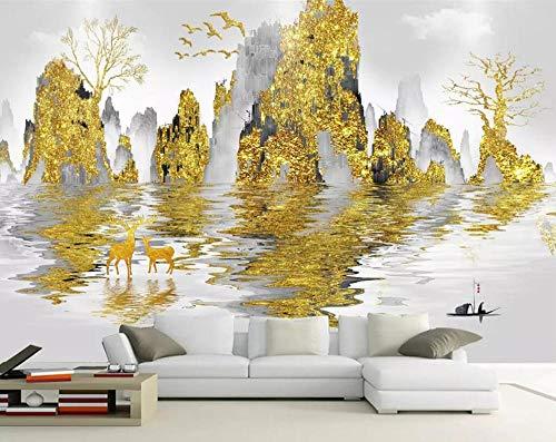 HUATULAI muurschildering 3D Alba Astratta landschap gouden inkt Nordic tv achtergrond metselwerk verbetering Domestic tafelkleed 250 * 175cm/W*h