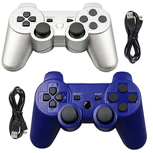 Tidoom PS3 Controller Wireless Playstation 3 Controller Bluetooth Joystick Compatible for PS3 Controller with Charging Cables Blue and Silver 2 Pack