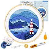 Pllieay Full Range of Embroidery Starter Kit with Natural Scenery Pattern, Including Instructions, Embroidery Cloth, Bamboo Embroidery Hoop, Color Threads and Tools Kit
