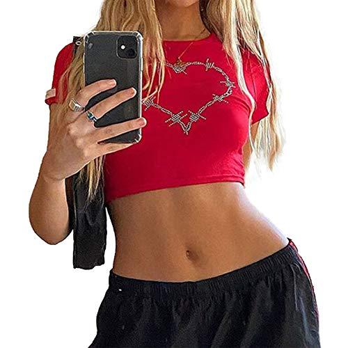 Camiseta de manga corta con estampado gráfico para niñas y mujeres, sexy, informal, de manga corta, estilo kawaii, para calle, cuello redondo
