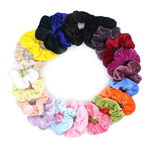 Lot de 20 chouchous en velours pastel - 20 couleurs - Élastiques pour cheveux - Pour femme et fille