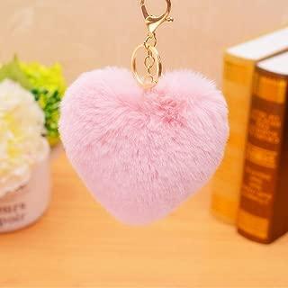 DALMSV Love Heart Shape Keychain Cute Soft Pom Pom Pendant Phones Car Bag Charm Tag Key Ring Key Chain