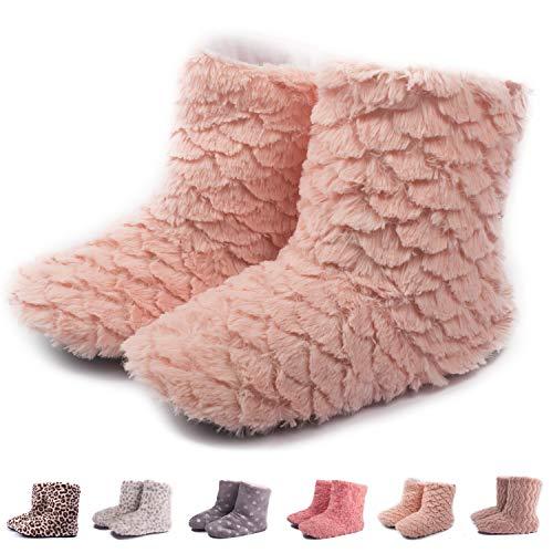 TWINS Fashion « Montreal » weich & warm gefütterte Damen Hütten-Schuhe I Stiefel I Slippers I Fleece Plüsch - rutschfeste hohe Hausschuhe Winter (36/37, Rose)