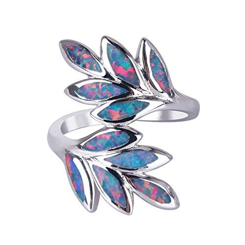 Anillos KELITCH para mujeres y niñas, anillo de apilamiento de ópalo azul con hoja de plata de ley 925, declaración de joyería para mujer C-7