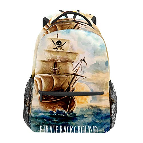 Mochila escolar vintage pintura al óleo barco pirata casual viaje portátil mochila de lona libro bolsas para mujeres niñas niños estudiantes adultos hombres