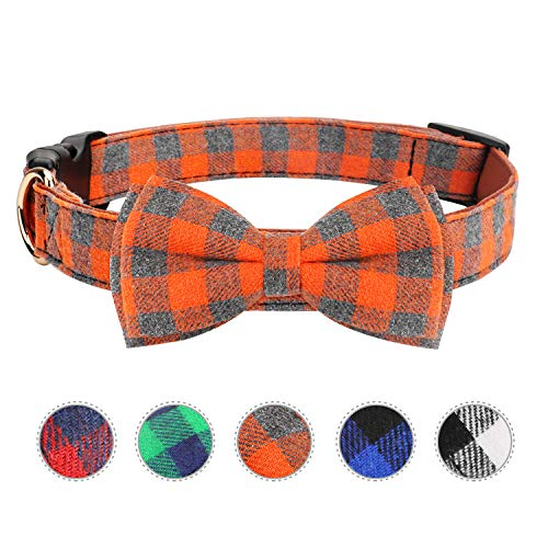 Vaburs Dog Bow Tie, Dog Cat Collar with Bow Tie Buckle Light Plaid Dog Collar for Dogs Cats Pets Soft Comfortable,Adjustable (S, Orange)