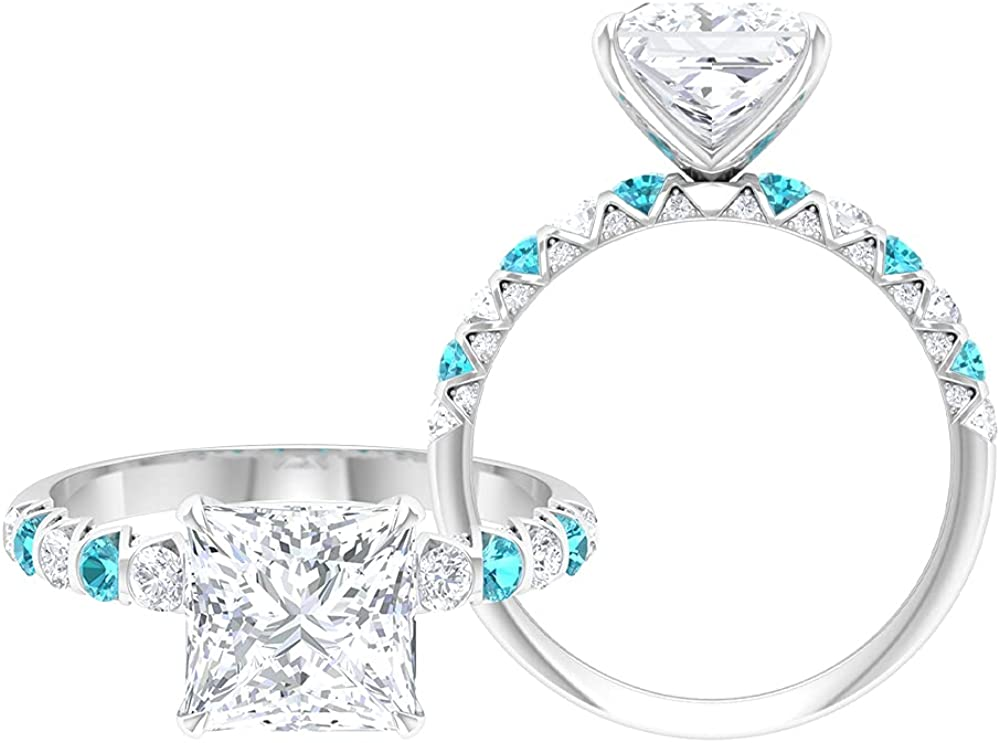 3.50 CT Princess 2021 new Cut Deluxe Moissanite and Topaz Blue D-VSS Ring Swiss