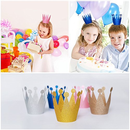 Happium - Birthday Crown Paper Glitter Hat Prince Princess Party Favors for Kids, 10pcs