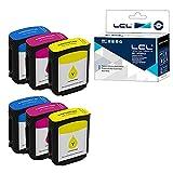 Versión Profesional LCL Cartucho de Tinta Compatible 82 C4911A C4912A C4913A (2Cian 2Magenta 2Amarillo) Reemplazo para HP DesignJet Printers 510/Designjet 500/500ps/500Plus/ 800/800ps/815/815mfp/820
