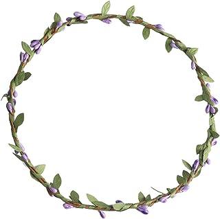 FLAMEER ボヘミアン 花の葉 ガーランド ビーチ花輪 花冠 ヘアアクセサリー 写真撮影小道具 多色選べ - 紫