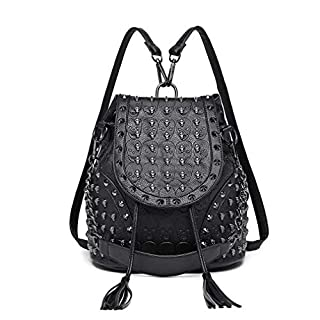 Miss Lulu Fashion Backpack Handbags for Women Shoulder Strap with Chain Faux Leather Studded Embossed Skulls (Black) (B00M2WCIOK)   Amazon price tracker / tracking, Amazon price history charts, Amazon price watches, Amazon price drop alerts