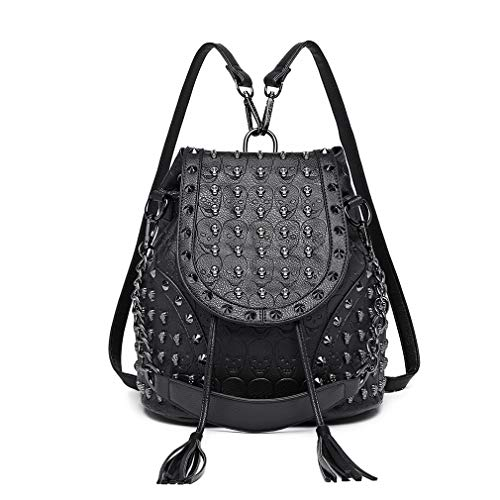 Miss Lulu Mode Rucksack Handtaschen für Frauen Schultergurt mit Kette Kunstleder Studded Geprägt Schädel