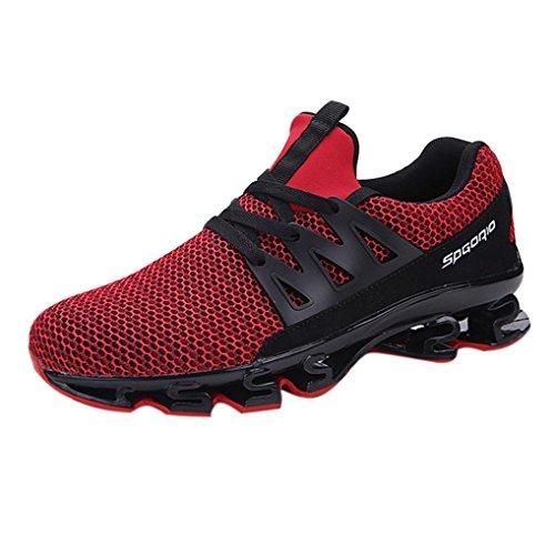 Laufschuhe Herren Sannysis Männer Lässig Gehender Sneaker Outdoor Sportschuhe Mesh Laufschuhe (46, Rot)