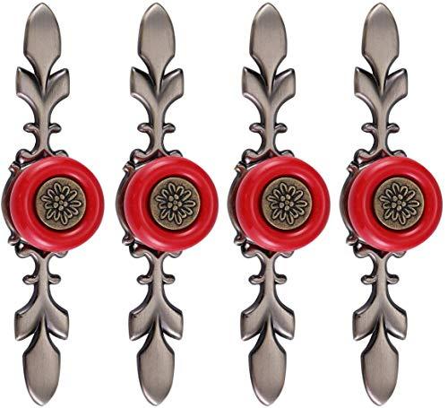 Deurknoppen met sokkel van metaal, greep van puur keramiek, voor ladekast, kast, groen, 4 stuks Rood