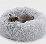Enjamoy Plush Donut Dog Bed, Calming Round Dog Cat Bed Soft and Fluffy Cuddler Pet Cushion Self-Warming Puppy Beds Machine Washable, Grey 50cm