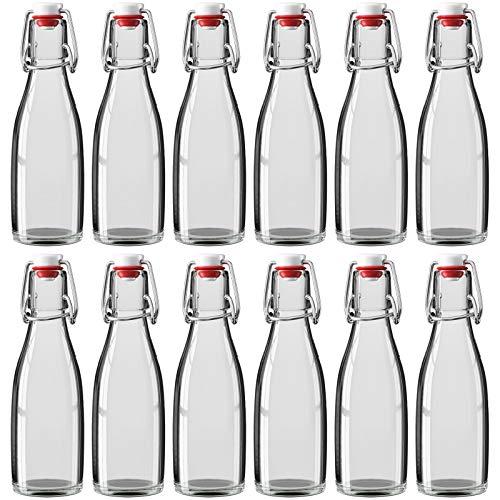Botella de cristal de 200 ml con cierre de clip, 5,5 x 19 cm (diámetro x altura), botella de cristal transparente, cierre de cerámica, diferentes cantidades a elegir, 12 unidades