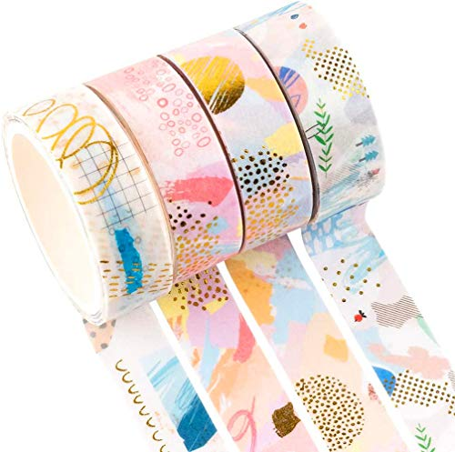 YUBX Oro Washi Tape Set cinta adhesiva decorativa Washi Glitter Adhesivo de Cinta...