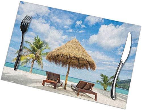 NOBRAND Vacation in Tropical Beach Sillas Sombrilla y Palmeras en la Playa Manteles Individuales, Manteles Individuales Lavables, Mantel Individual de Cocina Antideslizante
