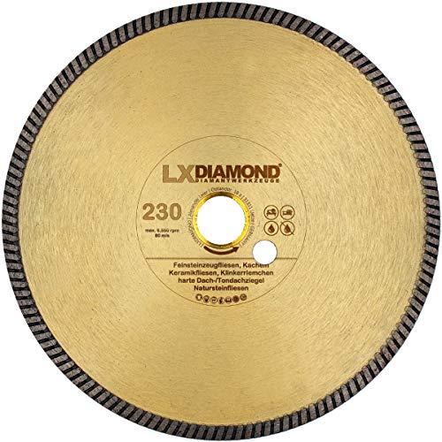 LXDIAMOND Diamant-Trennscheibe 230mm x 25,4mm Profi Diamantscheibe für Fliesen Feinsteinzeug Bodenfliesen Kreamik Natursteinfliesen Klinkerriemchen 230 mm