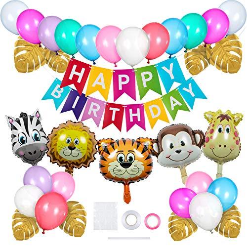 Jolintek Bunt Dschungel Deko, Geburtstagsdeko für Kinder Jungen Mädchen, Tiere Folienballon, Luftballons Bunt, Geburtstag Deko Happy Birthday Banner mit Palmblättern für Kindergeburtstag Deko