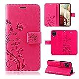 betterfon Samsung Galaxy A12 Hülle - Handyhülle Samsung A12 Klapphülle Schutzhülle mit Kartenfächer für Galaxy A12 Blume Pink