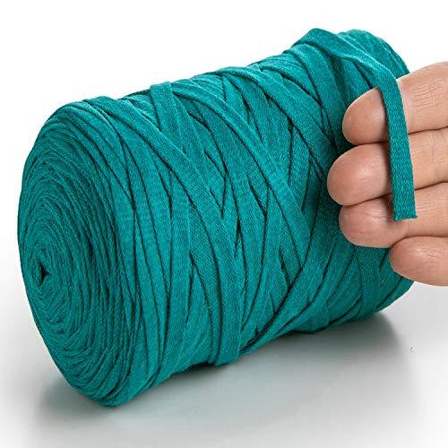 MeriWoolArt Baumwollgarn für Stricken, Makramee, Häkeln, Weben, Geschenkband für Weihnachten - 10 mm Textilgarn, 150 m T-Shirt Garn - Neue Qualität (Meeresgrün)