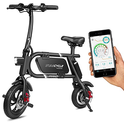 Best Price! SwagCycle Pro Folding Electric Bike, Pedal Free and App Enabled, 18 mph E Bike with USB Port to Charge on The Go (Black)