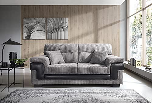Samson 2+ 3Kordel Chenille Stoff Sofas, Sessel in grau 3-Sitzer