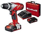 Einhell 4513690 TALADRO SIN CABLE LITIO TE-CD 18 Li, 27 W, 18 V, Negro, Rojo, con 1,5 Ah de la batería y el cargador