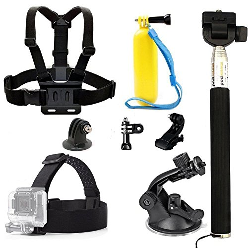 Legazone 6 All-in-1 Combo Accessories Kit for Gopro Legazone Sports Camera - Head Strap Chest Belt Handle Monopod Folating Mount & Auto Suction Cup