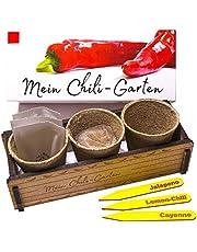 Mijn Chili Garten - Een origineel cadeau voor elke gelegenheid. Ideale chilipeauset als cadeau voor Kerstmis, Vaderdag, Moederdag, Verjaardag of Pasen