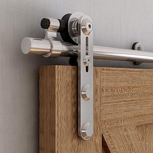 CCJH Juego de herrajes para puerta corredera, 152 cm, sistema de puerta corredera, riel para puerta corredera, riel colgante para puerta de madera individual (estilo de línea)